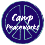 Camp Peaceworks logo. A peace sign and Camp Peaceworks
